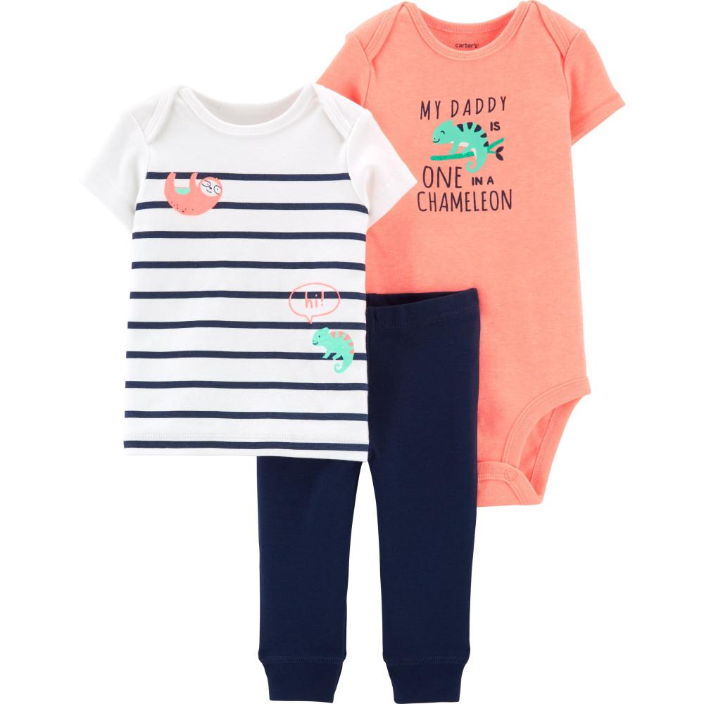 Carter's Set 3 Piese Cameleon pantaloni, tricou & body