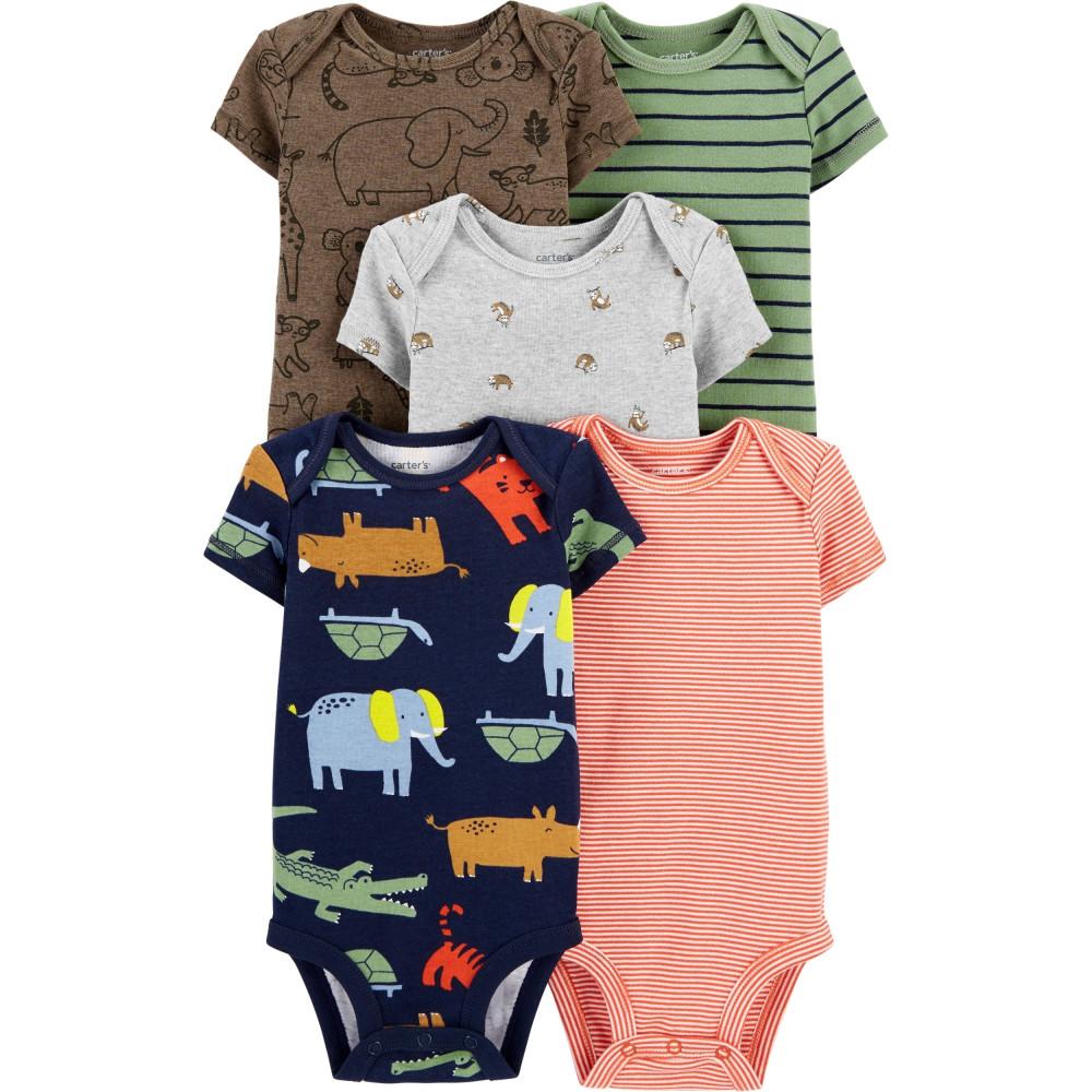 Carter's Set 5 piese bebelus body animale si dungi