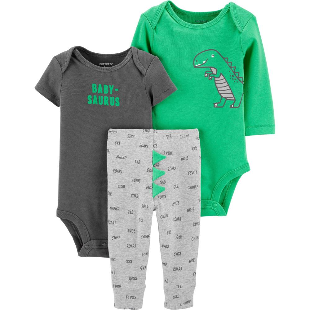 Carter's Set bebe 3 piese Dinozaur pantaloni si doua body