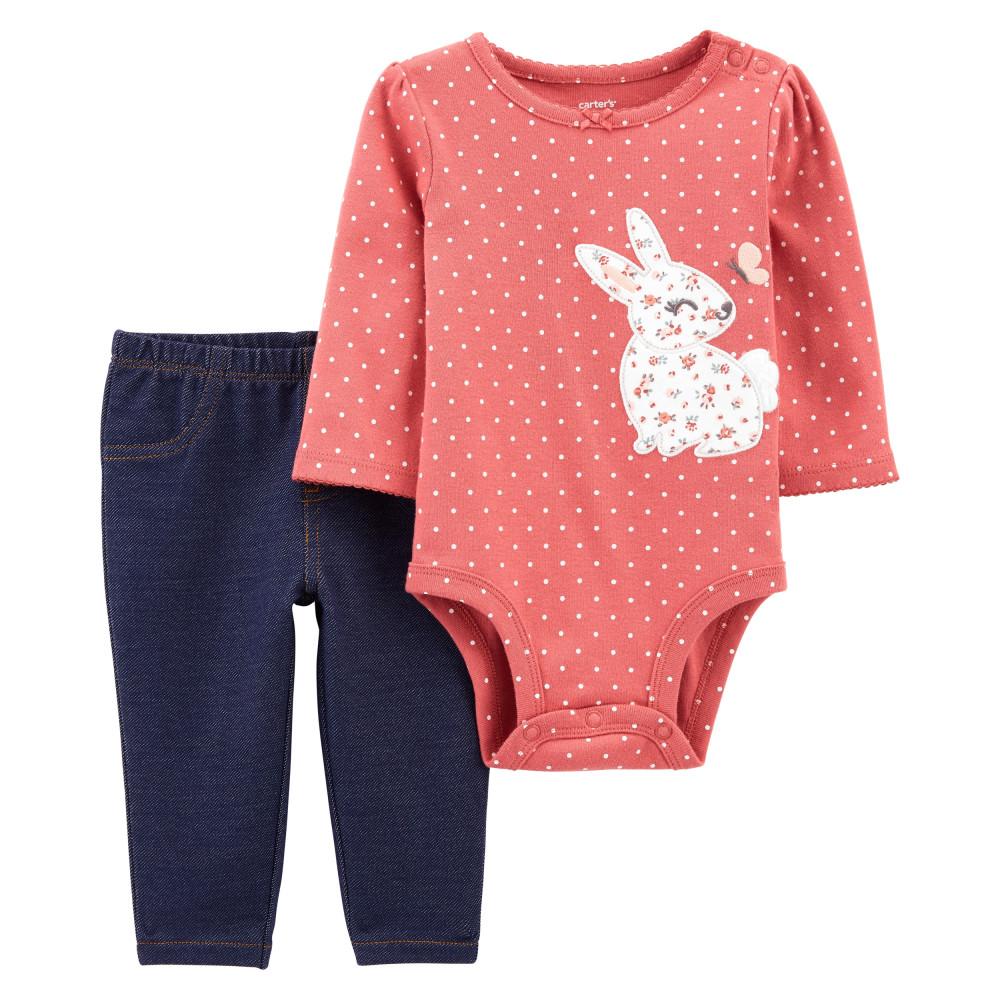 Carters Set 2 Piese bebe pantaloni si body Iepuras