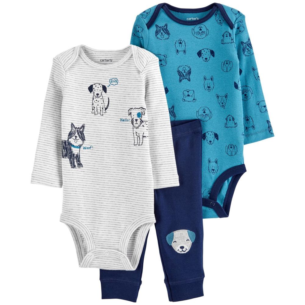 Carter's Set 3 Piese bebelus 2 body si pantaloni Catel