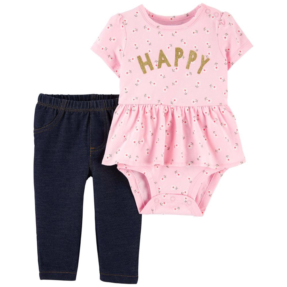 Carter's Set 2 piese body si pantaloni Happy