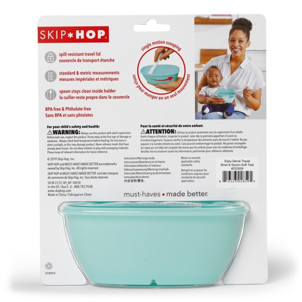 Skip Hop - Set de calatorie pentru hranire (bol + lingurita) - Soft turcoaz