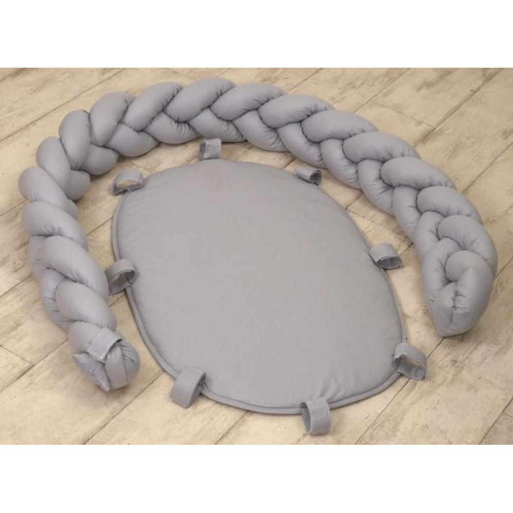 Jolie - Protectie impletita pentru patut si baby nest Pure Grey, 210*21CM