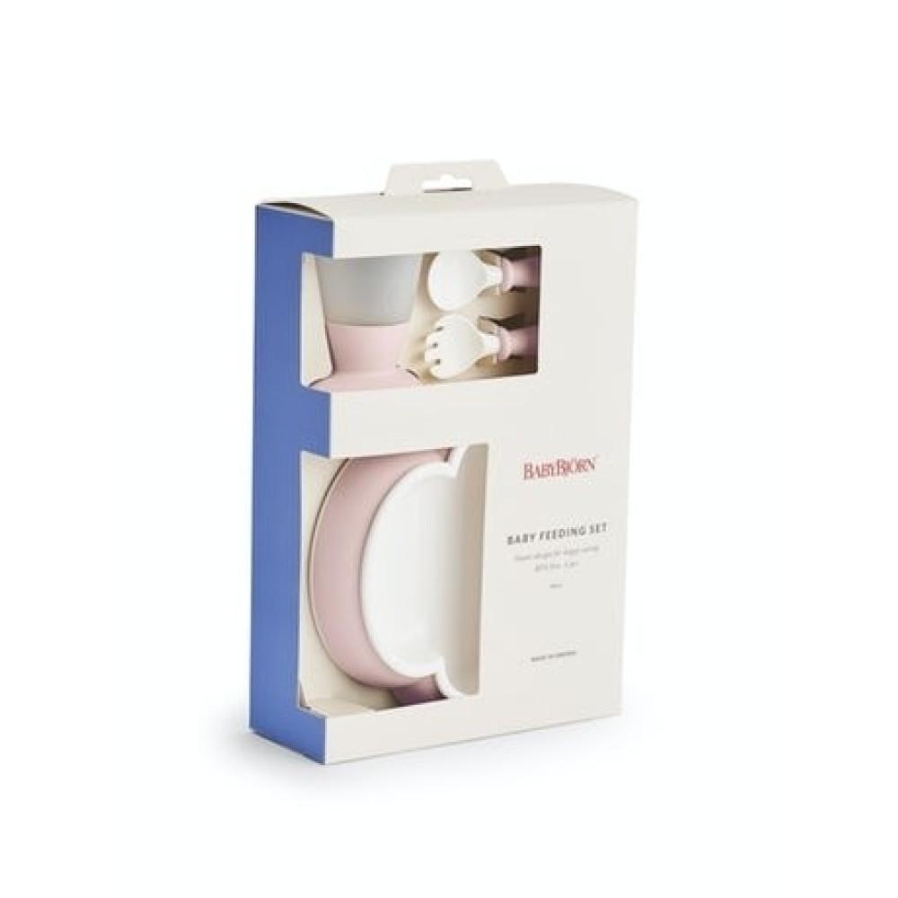 BabyBjorn - Set hranire: farfurie, lingurita, furculita si pahar pentru bebe, Powder Pink