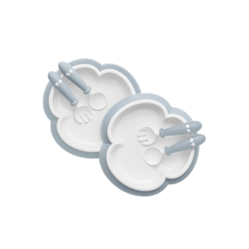 BabyBjorn - 2 Seturi hranire: farfurie, lingurita si furculita pentru bebe, Powder Blue