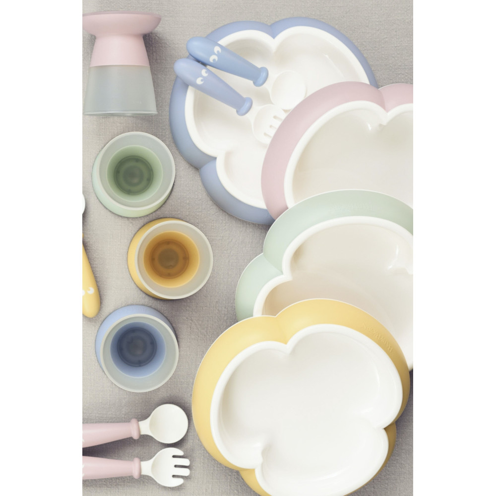BabyBjorn - Set hranire: farfurie, lingurita, furculita si pahar pentru bebe, Powder Blue