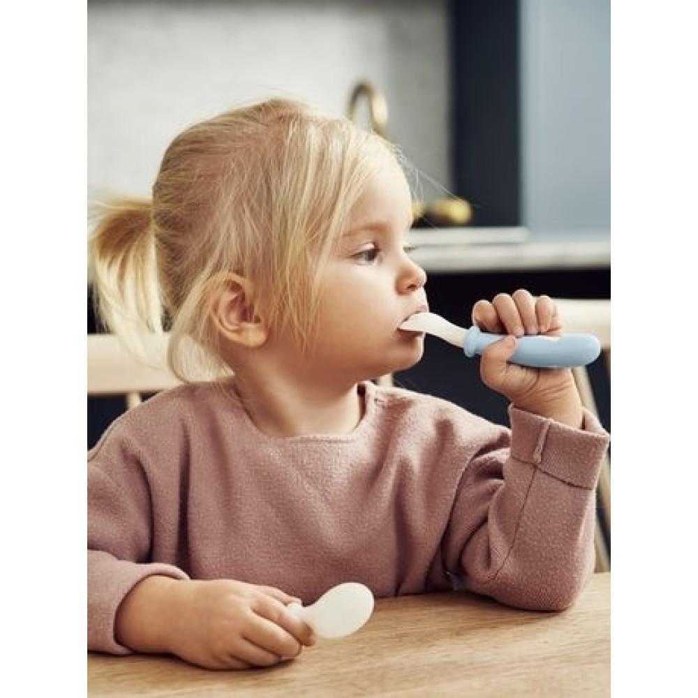 BabyBjorn - Set Lingurite si Furculite pentru bebelusi (4 bucati), Powder Blue