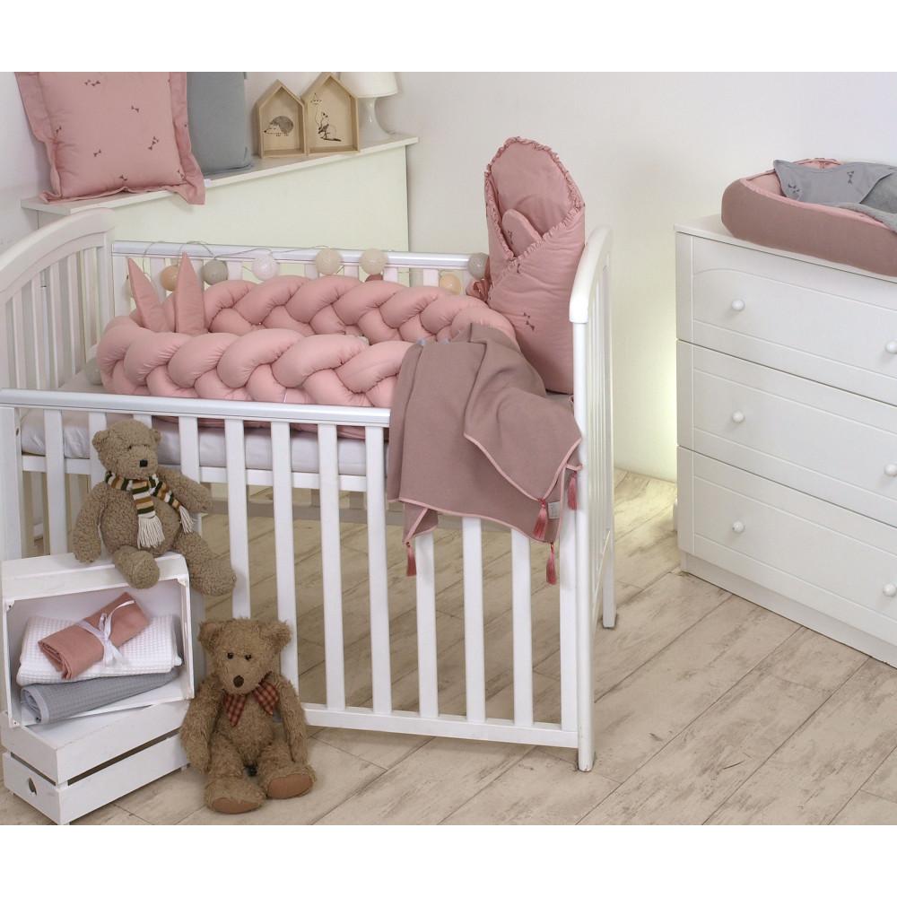 Jolie - Protectie impletita pentru patut si Baby Nest Pure Rose, 240*21 cm