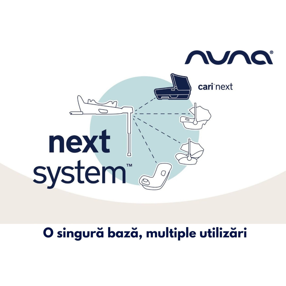 Nuna - Set Landou CARI next Caviar, 40-70 cm + Baza isofix BASE next i-Size pentru CARI next