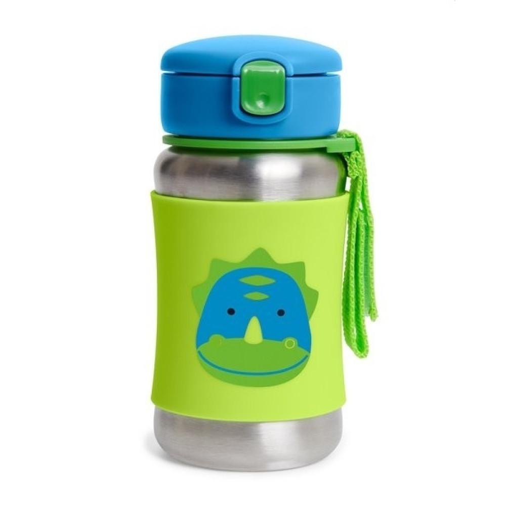 Skip Hop - Sticla cu pai din otel inoxidabil Zoo - Dino