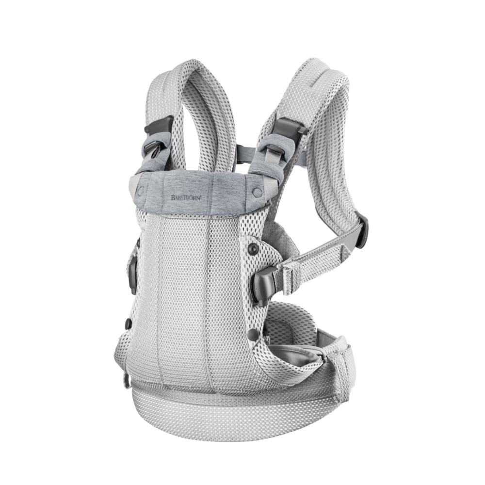 BabyBjorn - Marsupiu anatomic cu multiple pozitii de purtare colectia Harmony, 3D Mesh, Silver - Editie Limitata