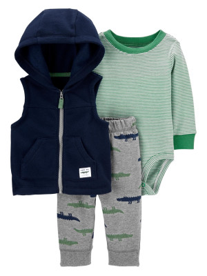 Carter's Set 3 piese bebelus vesta, pantaloni si body Aligator