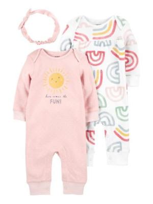 Carter's Set 3 piese 2 pijamale bebelus si bentita Curcubeu