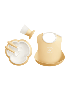BabyBjorn - Set hranire: farfurie, lingurita, furculita, pahar si bavetica pentru bebe, Powder Yellow