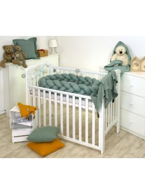 Jolie - Protectie impletita pentru patut si Baby Nest Pure Salvia, 240*21 cm