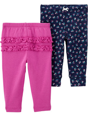Carter's Set 2 Piese pantaloni lungi cu flori si volănașe