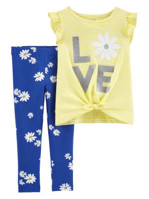Carter's Set 2 Piese tricou si pantaloni cu flori