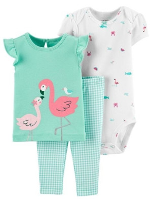 Carter's Set 3 piese pantaloni, tricou si body Flamingo
