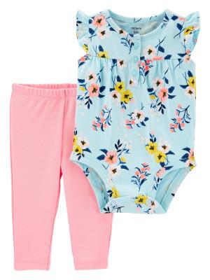 Carter's Set 2 piese pantaloni si body cu flori