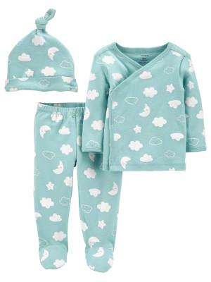 Carter's Set 3 piese bebe pantaloni, top si caciulita Norisori