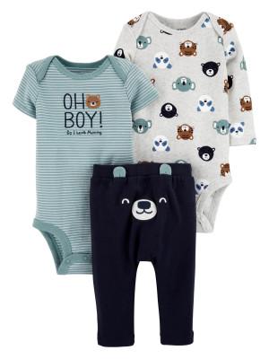 Carter's Set 3 Piese bebelus 2 body si pantaloni Ursulet