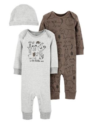 Carter's Set 3 piese 2 pijamale bebelus si caciulita