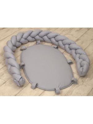 Jolie - Protectie impletita pentru patut si baby nest Pure Gray, 240*21CM