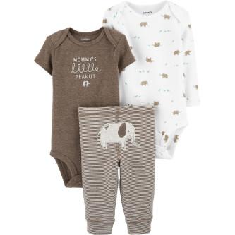Carter's Set 3 Piese bebe 2 body si pantaloni Elefant