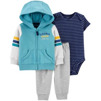 Carter's Set 3 piese bebe hanorac, pantaloni si body cu dungi