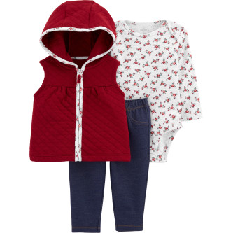 Carter's Set 3 piese bebelus vesta, pantaloni si body Flori