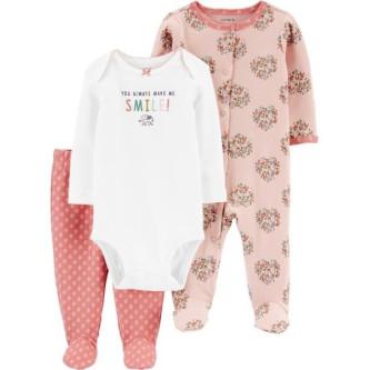 Carter's Set 3 Piese bebe pijama body si pantaloni Elefant