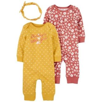 Carter's Set 3 piese 2 pijamale bebelus si bentita Flori