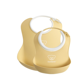 BabyBjorn Set 2 bavete – Baby Feeding Set Powder yellow