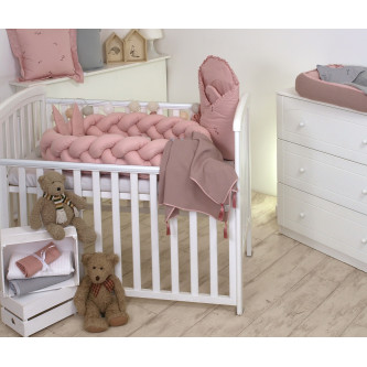 Jolie - Protectie impletita pentru patut si Baby nest Pure Rose, 210*21 cm