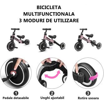 Korimefa - Tricicleta 3 in 1 Roz